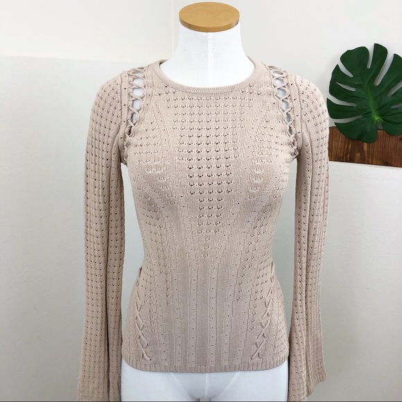 a62fe1078fbba Ronny Kobo Tie Up Fitted Tan Flare Sleeve Sweater.  M 5c055d99baebf6cecf99f19e